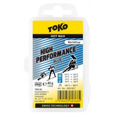 Парафин TOKO High perfomance blue -10/-30 40г